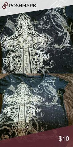 Vanity tee shirt Black with glitter cross Vanity Tops Tees - Short Sleeve