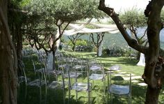 Cool draped fabric from trees to define ceremony space