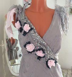 """Купить Туника- блузка """"Розы"""". В стиле Шебби Шик. - серый, цветочный"""