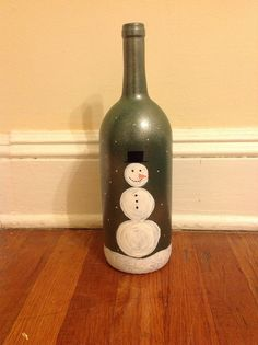 Hand Painted Decorative Holiday Wine Bottles!  These are decorative,  so I would have to drink the wine first, hummmmmm....a Win-Win gift    :)