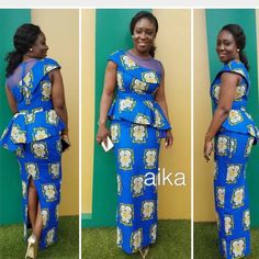 looking great in aika! Latest African Fashion Dresses, African Dresses For Women, African Print Fashion, African Attire, African Wear, African Women, Nigerian Outfits, African Inspired Clothing, Ankara Clothing