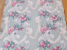 """Romantic Ribbons Swags Feathers Floral Barkcloth Fabric 86"""" x 42 3/4"""""""