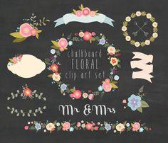Floral chalkboard clipart, wedding clipart, Digital Wreath, Flowers, Ribbons, birds, laurel, border, bunch, frame