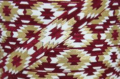 Fold Over Elastic - Craft Supplies by Couture Craft Supply - Maroon/Gold Metallic Tribal Print Fold Over Elastic - 5/8 inch FOE