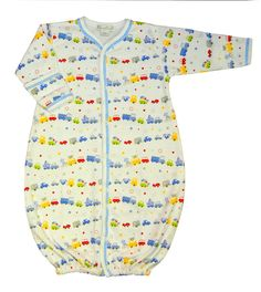 """Kissy Kissy Pima Cotton Infant Gown with """"Bumper to Bumper"""" print for Baby Boy, $34.00.  It's the cutest traffic jam ever! This gown for baby boys features the """"Bumper to Bumper"""" print, which shows cars, trucks, bikes, buses, trailers, and convertibles in cheerful, boyish, shades of blue, gray, red, yellow, and green.  Size: Newborn (Up to 11 lbs)"""