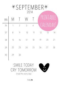 September - printable calendar | Elske | www.elskeleenstra.nl