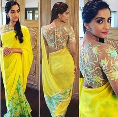 Bollywood fashion 782922716459135337 - 15 Times Sonam Kapoor Didn't Drape A Sari The Boring-Ass Way Source by Blouse Designs High Neck, Netted Blouse Designs, Saree Blouse Designs, Blouse Patterns, Dress Designs, Sonam Kapoor Saree, Deepika Padukone, Outfit Essentials, Saris