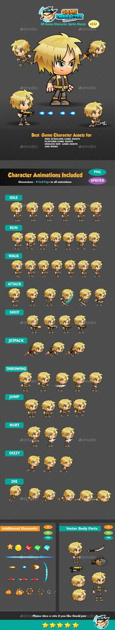 2D #Game Character Sprites 232 - Sprites Game Assets Download here: https://graphicriver.net/item/2d-game-character-sprites-232/17010705?ref=alena994