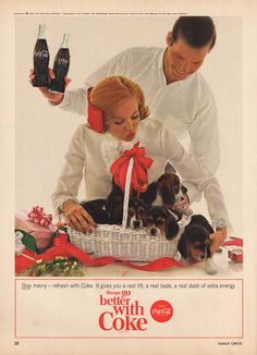 1964 COCA-COLA Christmas Advertisement PUPPIES in a Basket by phorgotten