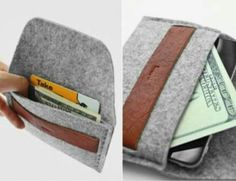 wallet made from wool felt fabric