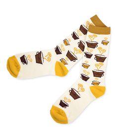 Look at this #zulilyfind! White & Yellow Coffee Crew Socks by Soxnet #zulilyfinds