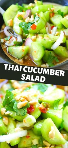 Thai Cucumber Salad, Cucumber Recipes, Veggie Recipes, Asian Recipes, Diet Recipes, Vegetarian Recipes, Cooking Recipes, Healthy Recipes, Recipies