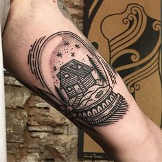 by @ciscoksl #ltwtattoo #tattoo - House in a snow globe.
