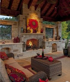 Outdoor patio and fireplace. Love this on a smaller scale