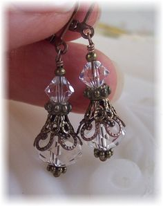 New Swarovski Clear Bicone Bead Crystal Vintage Antique Bronze Filigree Earrings $20.00