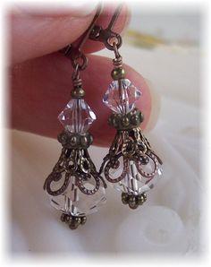 New Swarovski Clear Bicone Bead Crystal Vintage Antique Bronze Filigree Earrings $20.00