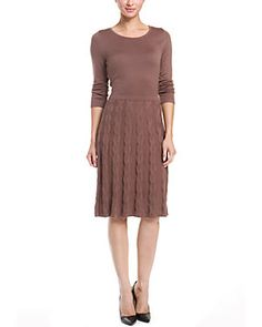 Anne Klein Truffle Cable Knit Fit & Flare Sweaterdress