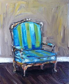 Chair Painting Blue Lime by DevinePaintings on Etsy, $88.00