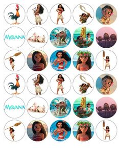 Here we have 30 cake toppers printed using edible ink onto wafer paper. To use the wafer paper toppers simply cut them out using sharp scissors and place onto cakes. Here we have a cake topper printed using edible ink onto wafer paper/icing sheet. Moana Cupcake Toppers, Disney Cake Toppers, Disney Cupcakes, Edible Cake Toppers, Moana Themed Party, Moana Birthday Party, Moana Party, Luau Party, Disney Junior Birthday