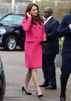 Kate in Cerise Mulberry Coat for Day of Engagements in South London