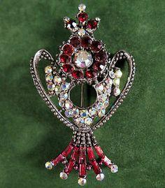 Vintage Brooch Silver Tone Red and Aurora Borealis Rhinestones | eBay