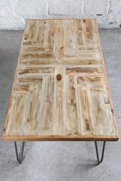 Chevron Table 'George' Design Made From Reclaimed Wood, Hairpin Legs, Rustic Pattern Side Or Coffee Table Reclaimed Wood Table Top, Wood Table Legs, Diy Table Legs, Outdoor Furniture Design, Wooden Pallet Furniture, Pallet Beds, Pipe Furniture, Diy Table Top, Table Top Design