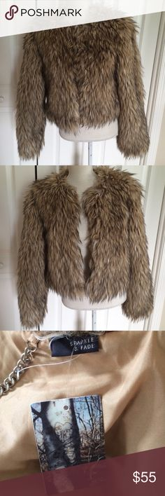 Sparkle & Fade - Faux Fur Coat - Size Small Hook closure.  Even more gorgeous in person. Sparkle & Fade Jackets & Coats