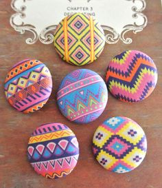 Fabric Buttons Covered Button Aztec Chevron Buttons by RetroNaNa