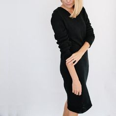 PRE-ORDER The Vee Sweater Dress - Black