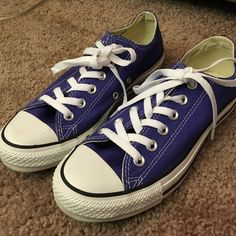 54946cd89923 Purple Converse Flats Womens Size 7 Purple and white Converse Flats ...