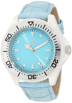 Invicta Women's 11299 Ceramic Light Blue Dial Watch Invicta. $82.98. Water-resistant to 50 M (165 feet). Green dial with white and silver tone hands and hour markers; luminous; unidirectional white ceramic bezel with silver tone ring and black arabic numerals; 2 additional interchangeable leather straps included. Flame-fusion crystal; white ceramic case; light blue patent leather strap with 2 interchangeable leather straps. Swiss quartz movement. Silver tone second hand