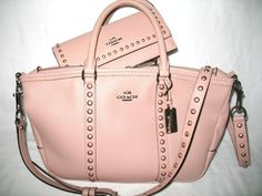 COACH Authentic Central Lacquer Rivets Blush & Matching Wallet SOLD OUT Bag Set #Coach #Satchel
