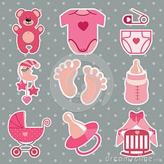 Illustration about A set of cute cartoon icons for newborn baby girl. Baby shower elements,scrapbooking in Polka dot background. Illustration of clothers, children, pendant - 42158109 Dibujos Baby Shower, Imprimibles Baby Shower, Cute Wallpapers For Ipad, Cute Wallpapers Quotes, Cute Girl Wallpaper, Cute Wallpaper For Phone, Cartoon Icons, Cute Cartoon, Moldes Para Baby Shower