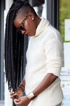 Box braids with shaved sides: 6 stylish ways to rock the look Shaved Side Hairstyles, Try On Hairstyles, Box Braids Hairstyles, Box Braids Shaved Sides, Curly Hair Styles, Natural Hair Styles, Mohawk Styles, Tapered Hair, Tapered Sides