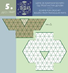 Schematic: How to join crochet triangles, granny squares, rounds to make a garment