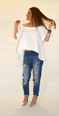 Linen Tunic/ Cold Shoulder White Summer Top/Cut by EvoletFashion