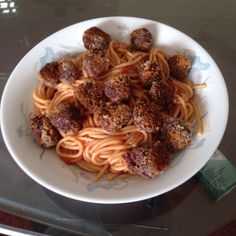 Pasta with fake meatballs