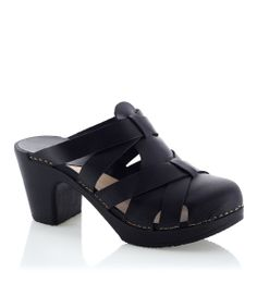 Black Nancy Leather Clog Sandal Calou