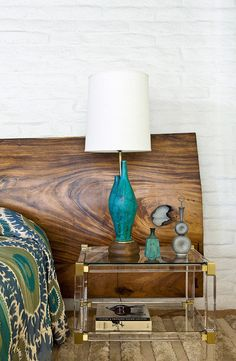 Love this idea! Huge slab of wood for a headboard. William Cody mid-century Palm Spring bedroom 1960s style