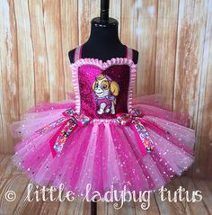 Little Ladybug Tutus Welcome to Little Ladybug Tutus where you will find unique and high quality handmade tulle tutu dresses for girls ages 12 months - 8 years of age. All Tutus are individually desig Paw Patrol Dress, Paw Patrol Party, Paw Patrol Birthday, Pink Tutu Dress, Girls Tutu Dresses, Tutus For Girls, Tulle Tutu, Birthday Tutu, Princess Birthday