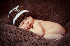 Football Beanie  newborn baby infant toddler boy photography prop hat. $18.00, via Etsy.