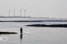 행원리 해안 풍경 by xldesign  fisherman fishing jeju island jeju-do korea seascape seashore silhouette telephoto view windmill 행원리
