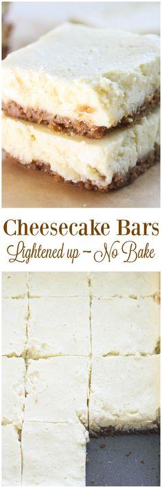 Lightened Up No Bake Cheesecake Bars from Lauren Kelly Nutrition (Baking Desserts Greek Yogurt) Healthy Desserts, Easy Desserts, Delicious Desserts, Dessert Recipes, Yummy Food, Baking Desserts, Homemade Desserts, Healthy Recipes, Skinny Recipes