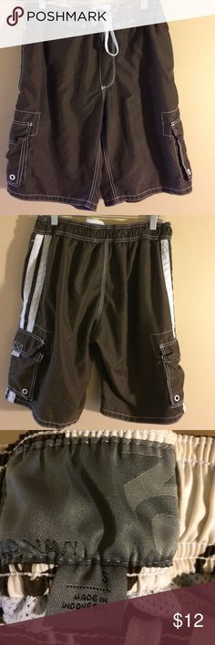 Old navy men's swim trunks size small Brown and white swim trunks with elastic waist band and front tie. Has mesh underwear attached. GUC smoke free home. Bundle to save more. Old Navy Swim Swim Trunks