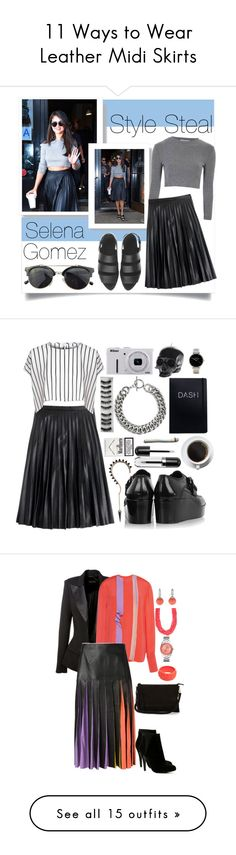 """""""11 Ways to Wear Leather Midi Skirts"""" by polyvore-editorial ❤ liked on Polyvore featuring waystowear, leathermidiskirt, Glamorous, J.Crew, Alexander Wang, Chicnova Fashion, selenagomez, stealsteal, Balenciaga and Marc Jacobs"""