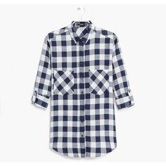 Check Cotton Shirt featuring polyvore, fashion, clothing, tops, mango tops, cotton shirts, mango shirt, long sleeve shirts and checkered shirt