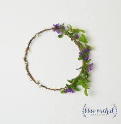Flower Crown - Greenery and Purple Blossom Flower Crown, Petite Flower Crown, Woodland, Boho, Purple Wildflower, Floral Crown, Boho Crown by blueorchidcreations on Etsy