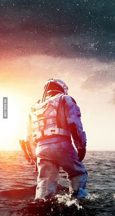 Idea: astronaut (helmet) coming out of the dark water, galaxy sky above him