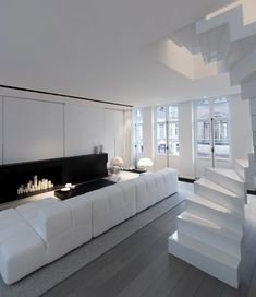 Modern Stairs // White Stairs In This Interior Designed By Mayelle  Architecture Inteiror Design