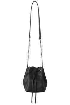 This little poof bag with its drawstring and chain and leatherette strap is perfect for keeping all your favourites safe, sound and stylish!